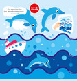 game cut scissors along blue line dolphin in sea vector image vector image