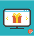 gift on screen flat icon for vector image vector image