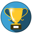 Gold Win Trophy Cup Icon on Blue Circle Flat vector image vector image