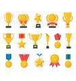golden reward gold trophy cups champion medals vector image