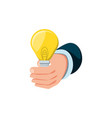 hand with light bulb isolated icon vector image vector image