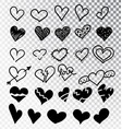 hearts hand drawn set isolated design elements vector image vector image