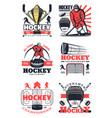 hockey sport game tournament players icons signs vector image vector image