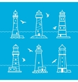 icon or logo set of white lighthouses vector image vector image