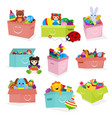 kids toys box baby container with toyshop vector image vector image