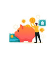man puts money in a piggy bank flat 2d character vector image