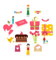 mother day flat icons vector image