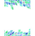 ocean wave and scale fish watercolor frame vector image vector image