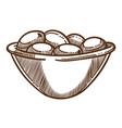 olives harvest in bowl isolated sketch vegetarian vector image