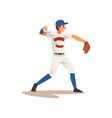 pitcher throwing ball baseball player character vector image vector image