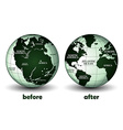 Planet earth before and after vector image vector image