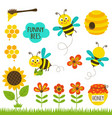 set isolated funny bees and icons vector image vector image