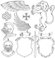 set knight heraldic elements vector image vector image