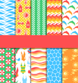 Set of 10 seamless bright summer patterns vector image vector image