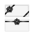 set of greeting card with black ribbon and bow vector image vector image