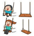 set of kid swing vector image