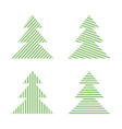 set of linear graphic stylized christmas trees vector image vector image