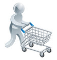 shopping trolley silver person vector image