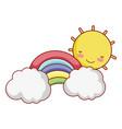 sun rainbow cloud sky fantasy isolated icon design vector image