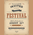 vintage festival invitation poster vector image vector image