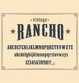 western alphabet font wild west letters numbers vector image vector image