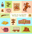 wild west cowboy elements banner with place for vector image vector image