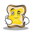 wink face bread character cartoon vector image vector image