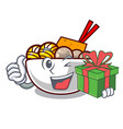 with gift meatball isolated with in character vector image vector image