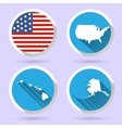 Set of USA country shape with flag vector image