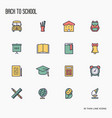 back to school thin line icons set vector image