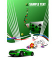 casino elements with sport car image vector image