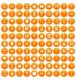 100 construction icons set orange vector image vector image