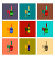 assembly flat champagne bottle and glasses vector image vector image