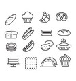 bakery sign black thin line icon set vector image vector image