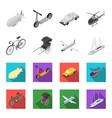 bicycle rickshaw plane yachttransport set vector image vector image