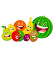cartoon fruit characters group vector image vector image