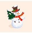 Cheerful Snowman holding a Christmas Tree vector image vector image