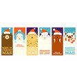collection christmas banners with cute animals vector image vector image