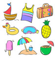 collection stock summer object doodle set vector image vector image