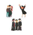 college graduates happy girl parents classmates vector image