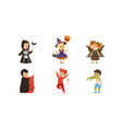 cute boys and girls in halloween costumes vector image vector image