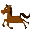cute brown horse cartoon running vector image vector image