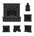 different kinds of fireplaces black icons in set vector image
