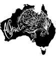 Echidna on map of Australia vector image vector image