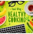 Food blog healthy cooking recipes vector image