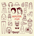 funky hipster style elements female different vector image vector image