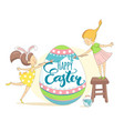 funny happy easter greeting card with girls vector image vector image