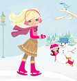 girls playing in a winter day vector image vector image