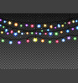 glowing garland set on transparent background vector image vector image