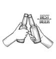 graphic hands with beer bottles vector image